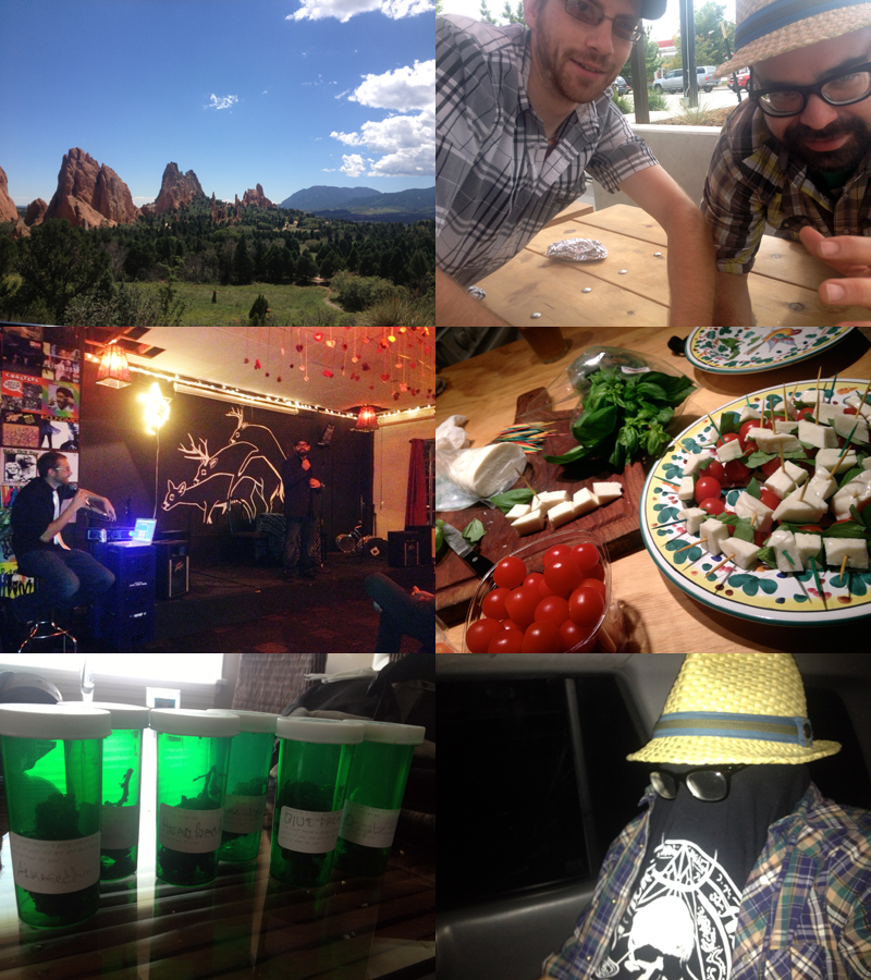 Mountains, new and old friends, great venue Deerpile, the caprese salad I made for the audience, extra legal herbs, and the guy that sells them.